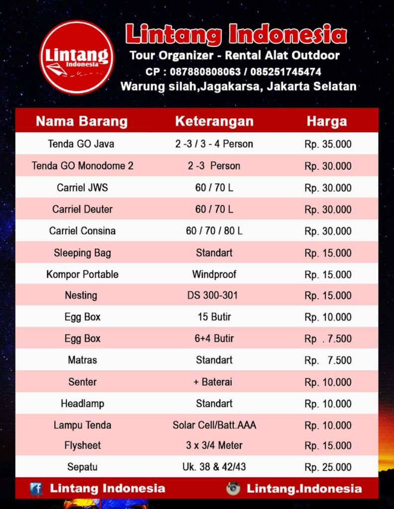 Price List Rent Outdoor